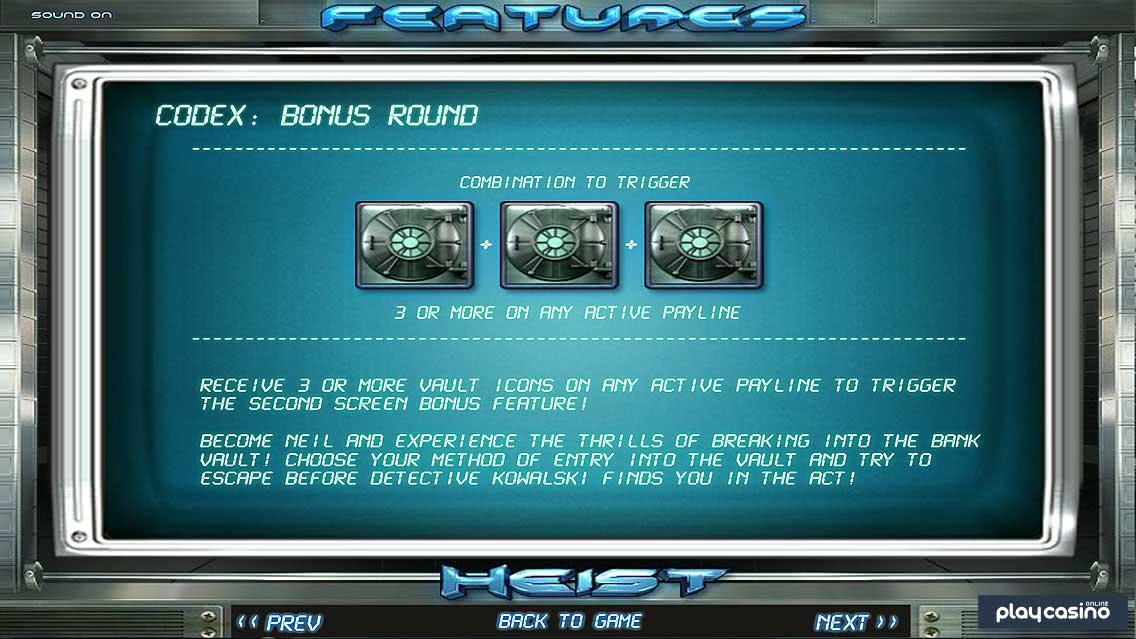 Heist Slots Game Bonus Round