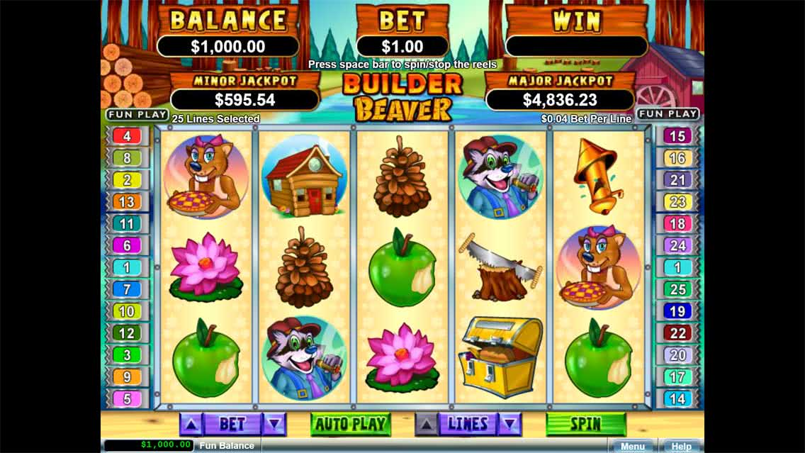 Builder Beaver Slots Game Screenshot