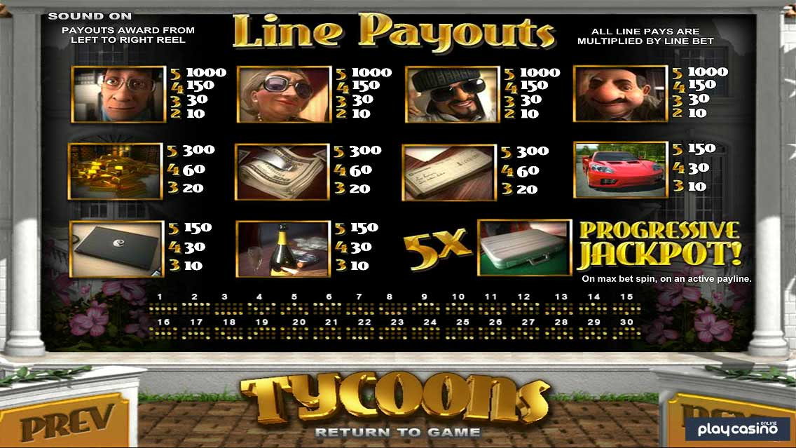 Tycoons Slot Line Payouts