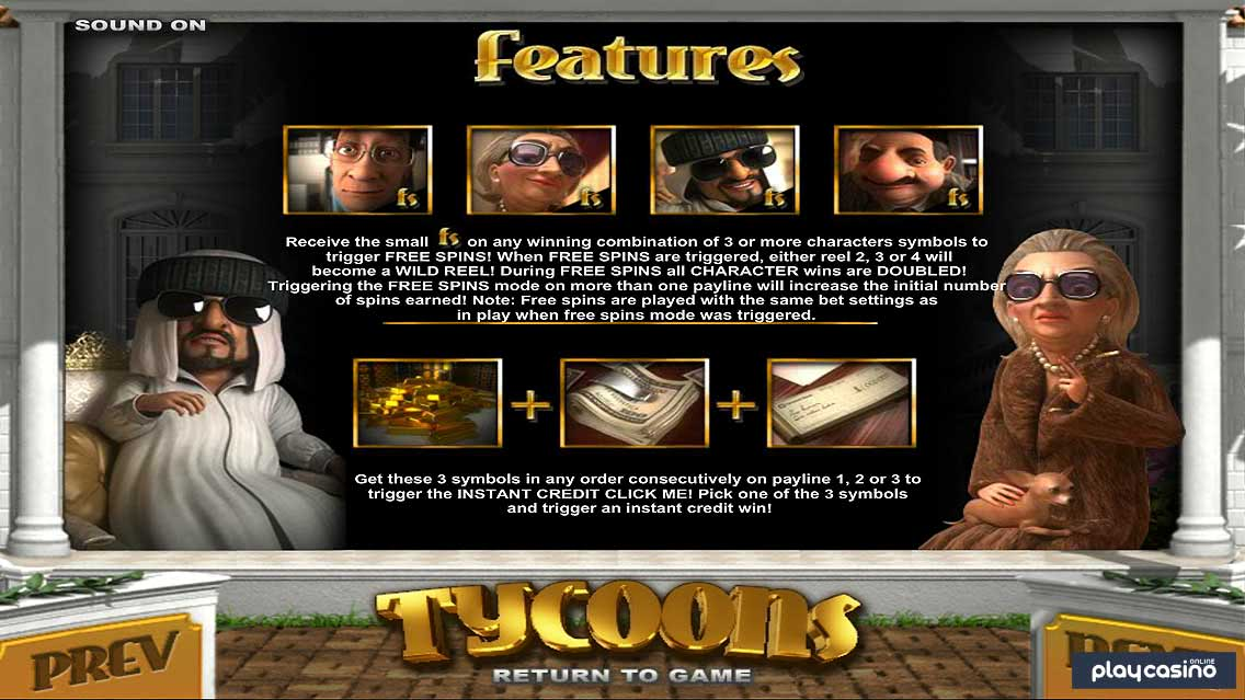 Tycoons' Slot Game Features
