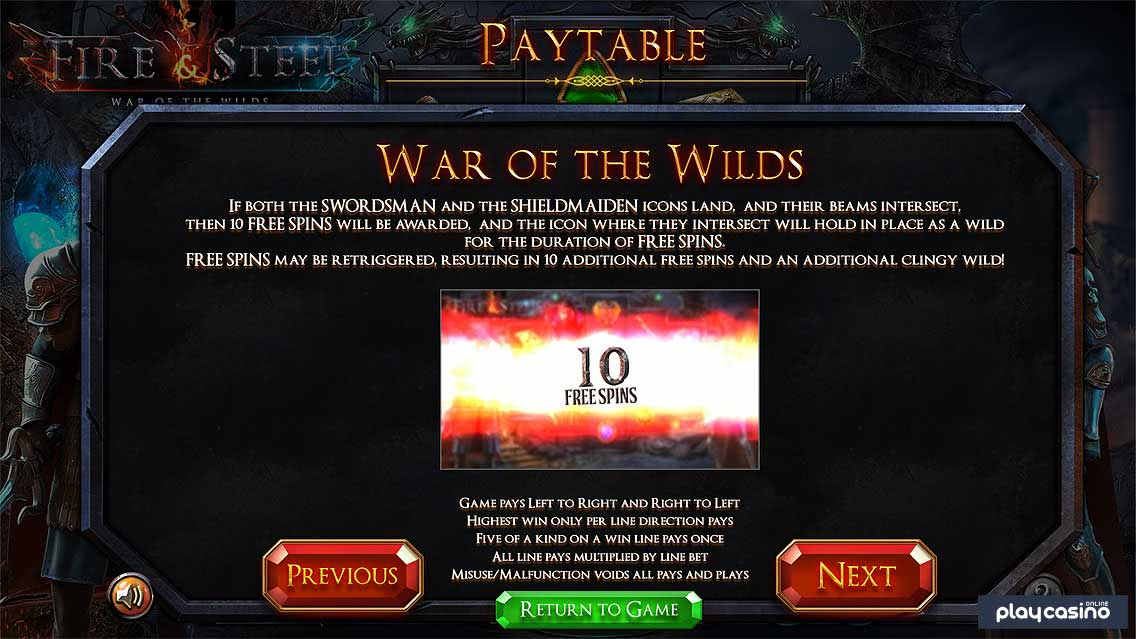 War of the Wilds Free Spins