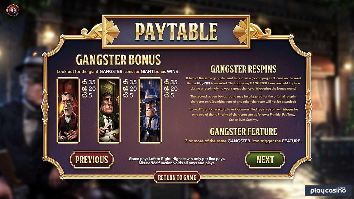 Gangster Bonus & Respins