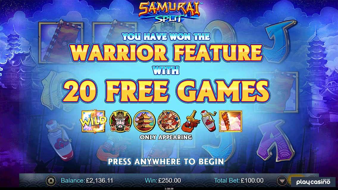 20 Free Spins at Samurai Split
