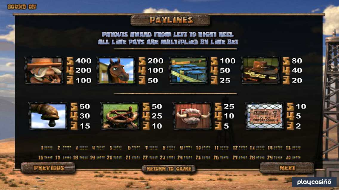 Black Gold Slot Game - Payouts