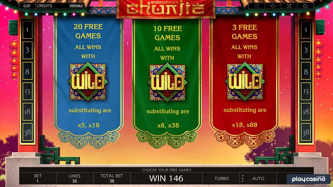 Chunjie's 3 Free Spins Bonus Modes