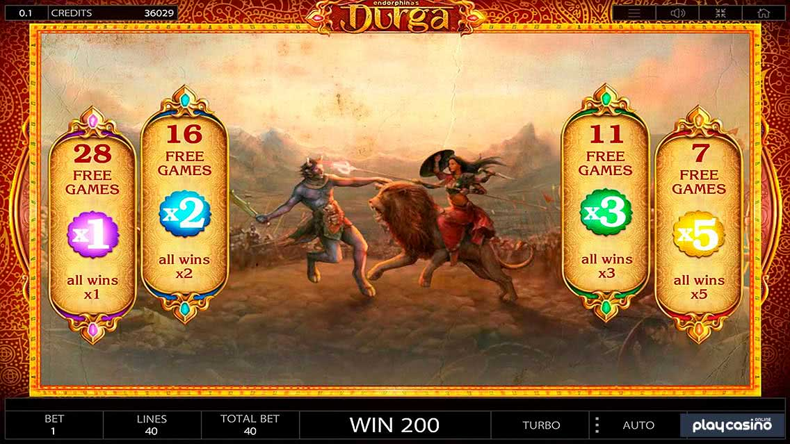 Durga's Free Spins Bonus Feature