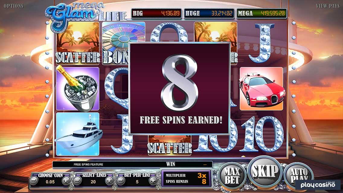 Mega Glam Life Slot Free Spins