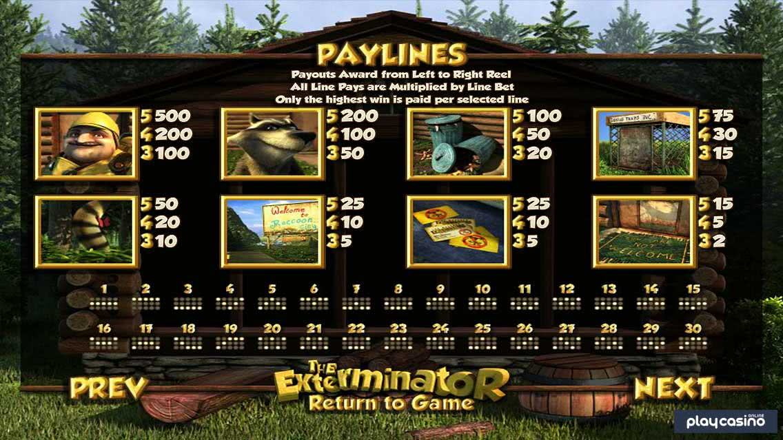 The Exterminator Slot - Winning Paylines