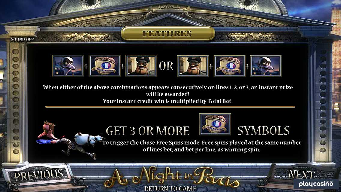 a Night in Paris - Game Features