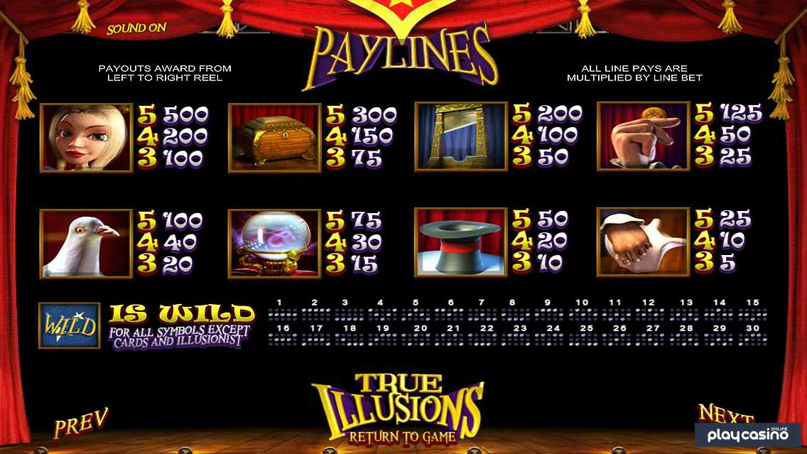True Illusions Slot - Paylines